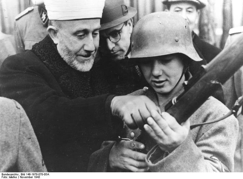 Mufti of Jerusalem Hajj Amin al Husseini among Bosnian volunteers of the Waffen SS, November 1943
